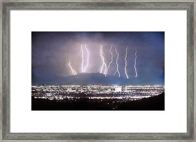 Phoenix Arizona City Lightning And Lights Framed Print by James BO  Insogna