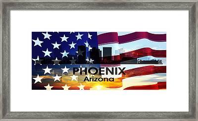 Phoenix Az Patriotic Large Cityscape Framed Print by Angelina Vick