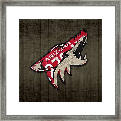 Phoenix Coyotes Retro Hockey Team Logo Recycled Arizona License Plate Art Framed Print