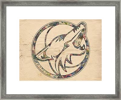 Phoenix Coyotes Retro Poster Framed Print