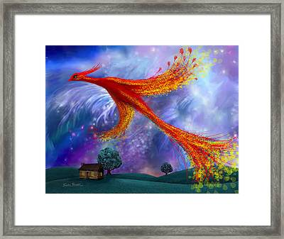 Phoenix Flying At Night Framed Print