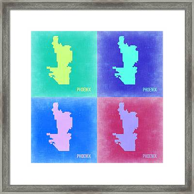 Phoenix Pop Art Map 1 Framed Print by Naxart Studio