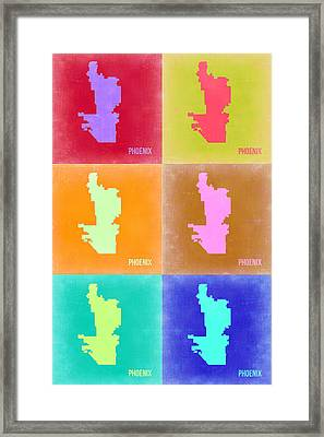Phoenix Pop Art Map 3 Framed Print by Naxart Studio