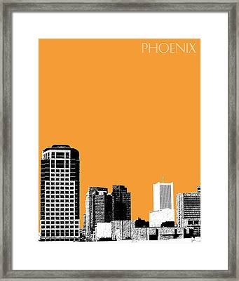 Phoenix Skyline - Orange Framed Print by DB Artist