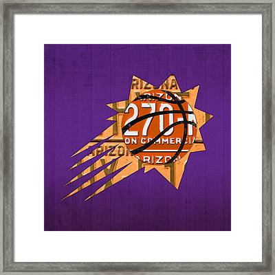 Phoenix Suns Basketball Team Retro Logo Vintage Recycled Arizona License Plate Art Framed Print by Design Turnpike