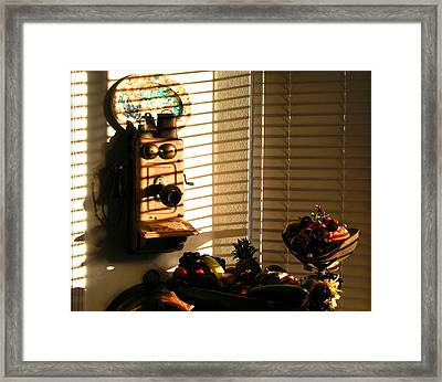 Framed Print featuring the photograph Phone And Fruit by Craig T Burgwardt