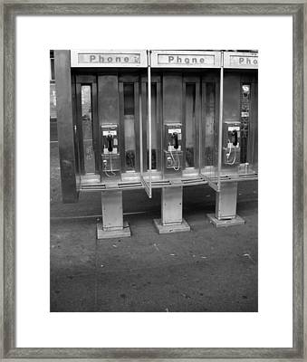 Phone Booth In New York City Framed Print
