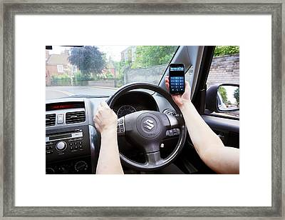 Phone Use While Driving Framed Print by Victor De Schwanberg