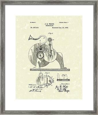 Phonograph 1892 Patent Art Framed Print by Prior Art Design