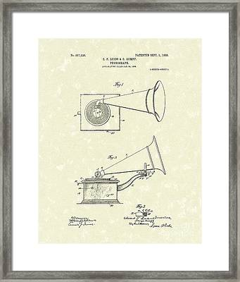 Phonograph 1908 Patent Art Framed Print by Prior Art Design
