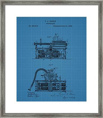 Phonograph Blueprint Patent Drawing Framed Print by Dan Sproul