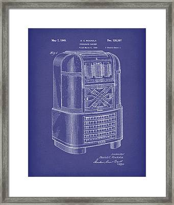 Phonograph Cabinet 1940 Patent Art Blue Framed Print