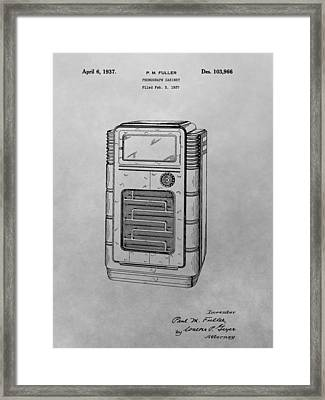 Phonograph Cabinet Patent Drawing Framed Print by Dan Sproul
