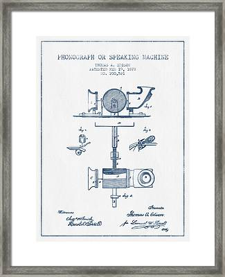 Phonograph Or Speaking Machine Patent Drawing From 1878- Blue In Framed Print by Aged Pixel
