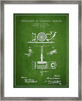 Phonograph Or Speaking Machine Patent Drawing From 1878 - Green Framed Print by Aged Pixel