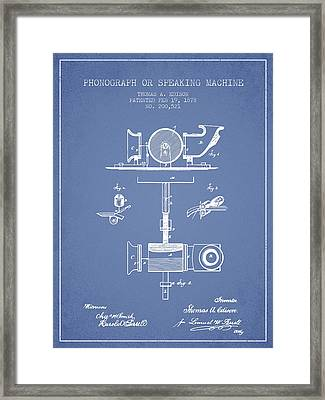 Phonograph Or Speaking Machine Patent Drawing From 1878 - Light  Framed Print by Aged Pixel