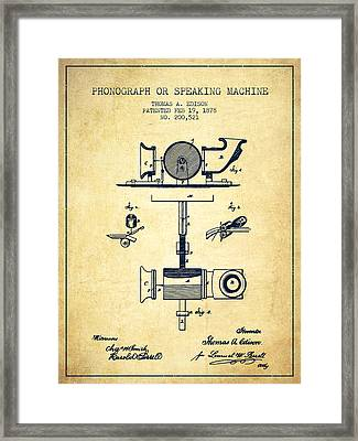 Phonograph Or Speaking Machine Patent Drawing From 1878 - Vintag Framed Print by Aged Pixel