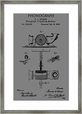 Phonograph Patent Framed Print by Dan Sproul