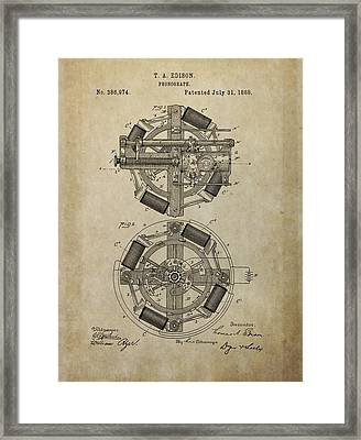 Phonograph Patent Drawing Framed Print by Dan Sproul