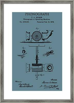Phonograph Patent On Blue Framed Print by Dan Sproul