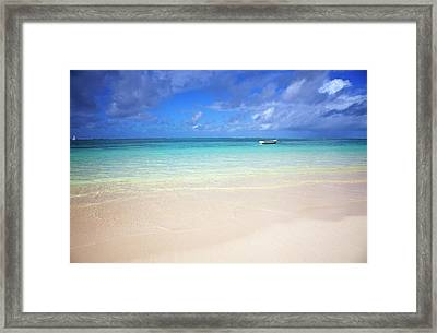 Photo At The Beach With A Bright Blue Framed Print by Robertmandel