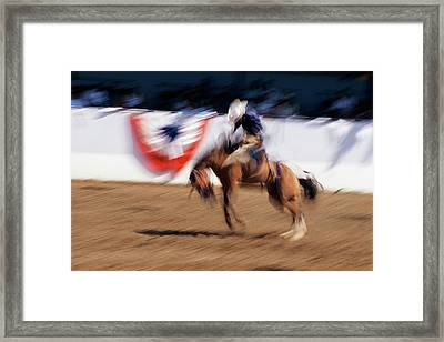Photo Impression Of Bronco Rider Framed Print