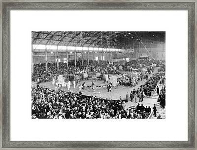 Photo Of A Five Ring Circus Framed Print by Underwood Archives