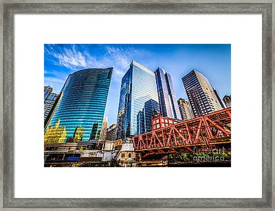 Photo Of Chicago Buildings At Lake Street Bridge Framed Print by Paul Velgos