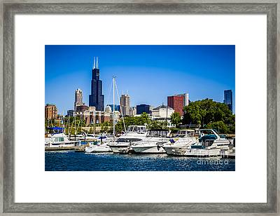 Photo Of Chicago Skyline With Burnham Harbor Framed Print
