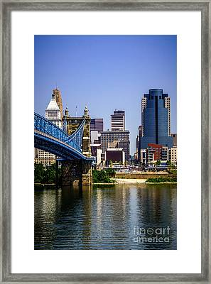 Photo Of Cincinnati Buildings And Roebling Bridge Framed Print by Paul Velgos