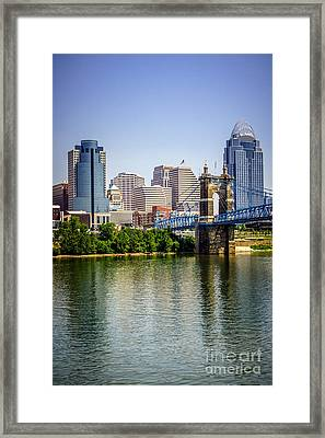 Photo Of Cincinnati Skyline And Roebling Bridge Framed Print by Paul Velgos