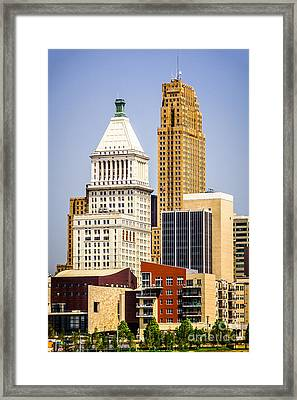 Photo Of Downtown Cincinnati Buildings Framed Print by Paul Velgos