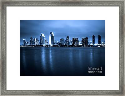 Photo Of San Diego At Night Skyline Buildings Framed Print by Paul Velgos