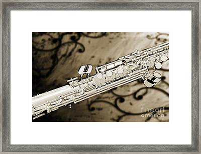 Photograph Of Classic Soprano Saxophone Sepia 3349.01 Framed Print