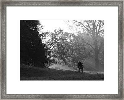 Framed Print featuring the photograph Photographer In The Mist by Ed Cilley