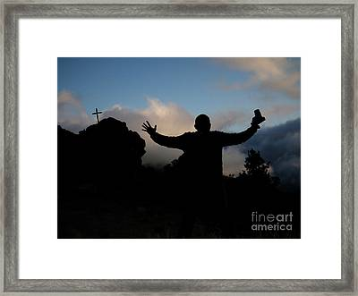 Photographer Shadow With Cross Framed Print