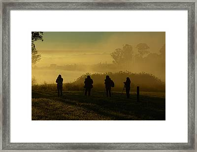 Photographers In The Mist Framed Print