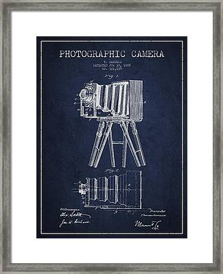 Photographic Camera Patent Drawing From 1885 Framed Print by Aged Pixel