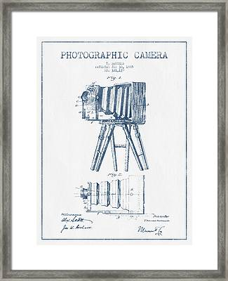 Photographic Camera Patent Drawing From 1885- Blue Ink Framed Print