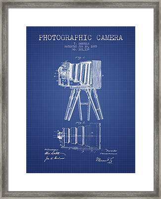 Photographic Camera Patent From 1885 - Blueprint Framed Print by Aged Pixel