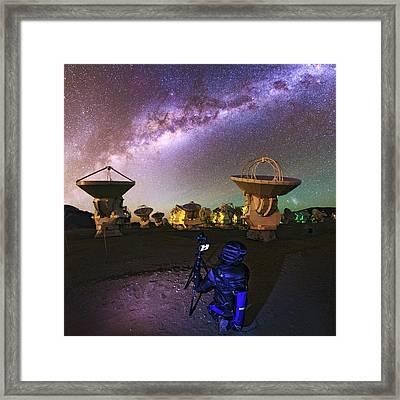 Photographing Alma Radio Telescope Framed Print by Babak Tafreshi