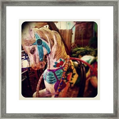 Blue Heaven Carousel Horse Framed Print
