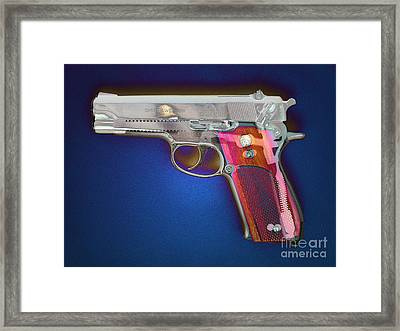 Photomontage Of 9mm Gun Framed Print by Scott Camazine