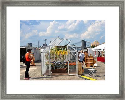 Photoville Under The Brooklyn Bridge Framed Print by Diane Lent