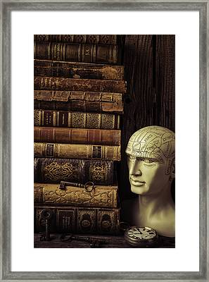 Phrenology Head And Old Books Framed Print