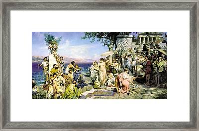 Phryne At The Festival Of Poseidon In Eleusin Framed Print