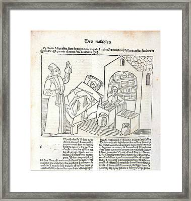Physician Examining Urine Sample Framed Print by Universal History Archive/uig