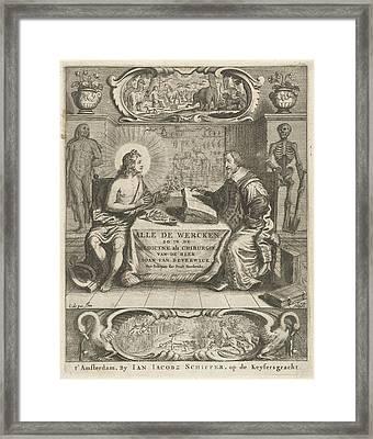 Physician Johan Beverwijk Studying Books About Apollo Framed Print by Cornelis Van Dalen (i) And Jan Jacobsz Schipper