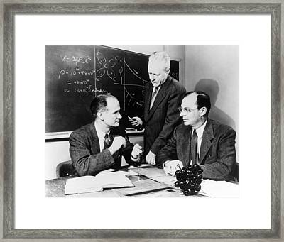 Physicists Brattain, Bardeen And Framed Print by Science Photo Library