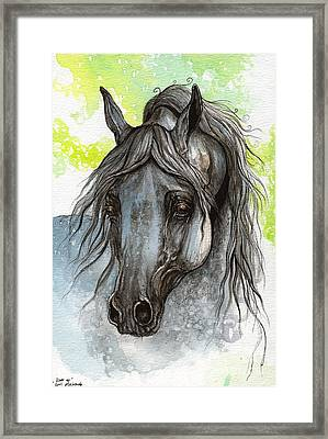 Piaff Polish Arabian Horse Watercolor  Painting 1 Framed Print by Angel  Tarantella